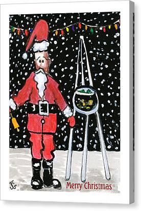 Sidewalk Santa.card Canvas Print