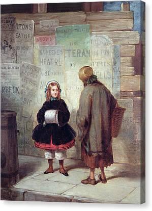Sidewalks Of New York Or Rich Girl Poor Girl Canvas Print by James Harvey Cafferty