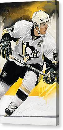 Hockey Canvas Print - Sidney Crosby Artwork by Sheraz A