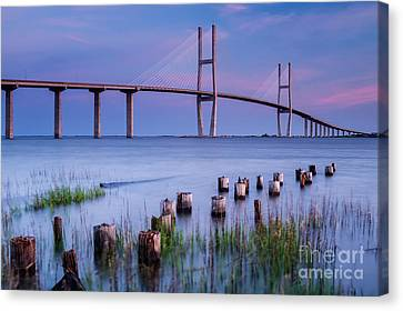 Island Stays Canvas Print - Sidney Lanier Bridge Brunswick Georgia by Dawna Moore Photography