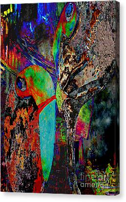 Canvas Print featuring the digital art Sie Versucht Ihn Zu Kuessen - She Tries To Kiss Him by Mojo Mendiola