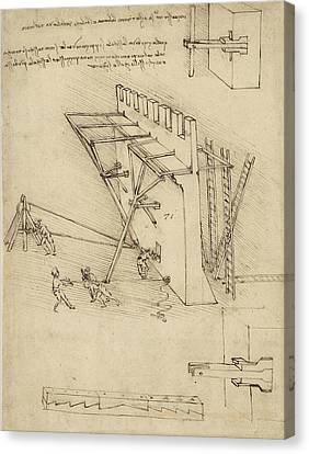 Siege Machine In Defense Of Fortification With Details Of Machine From Atlantic Codex Canvas Print by Leonardo Da Vinci