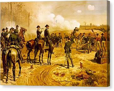 Siege Of Arlanta Canvas Print by Thure de Thulstrup