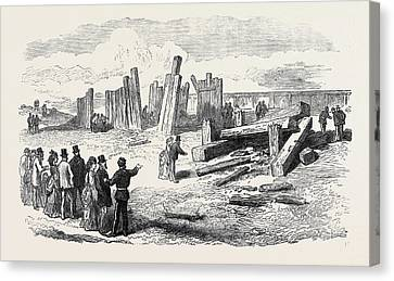 Siege Operations At Chatham Destruction Of The Stockade Canvas Print by English School