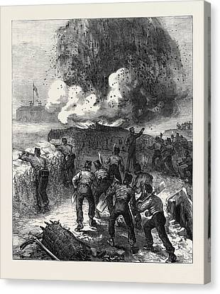 Siege Operations At Chatham Explosion Of A Mine 1871 Canvas Print by English School