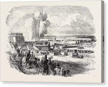 Chatham Canvas Print - Siege Operations At Chatham Springing A Mine 1854 by English School