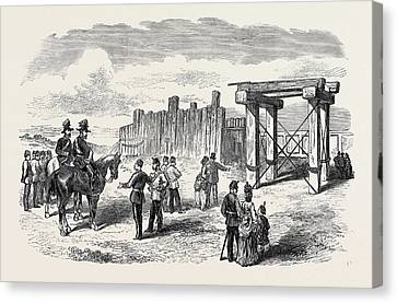 Siege Operations At Chatham Stockade Prepared For Blowing Canvas Print by English School