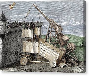 Siege With Trebuchet And Greek Fire Canvas Print by Sheila Terry