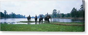 Siem Reap River & Elephants Angkor Vat Canvas Print by Panoramic Images