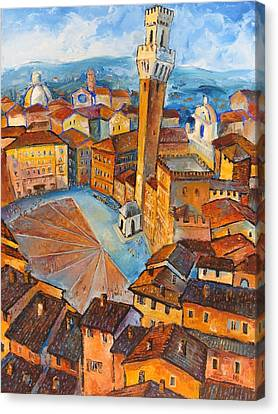 Siena-piazza Dil Campo Canvas Print