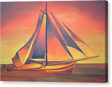 Canvas Print featuring the painting Sienna Sails At Sunset by Tracey Harrington-Simpson