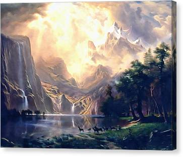 Sierra Nevada Ode To Bierstadt Dedication Canvas Print by Georgiana Romanovna