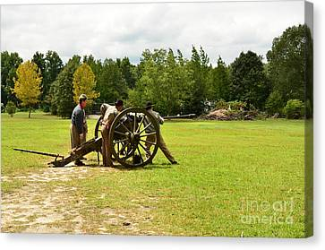 Sighting In Of A Civil War Canon Canvas Print by Bob Sample