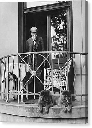 Sigmund Freud With His Chows Canvas Print