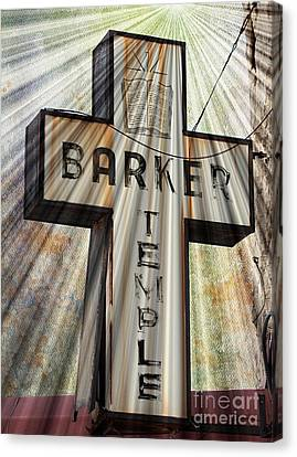 Sign - Barker Temple - Kcmo Canvas Print by Liane Wright