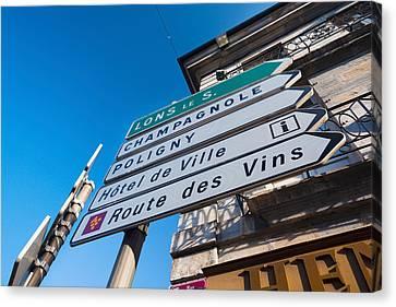 Sign For The Route Des Vins, Arbois Canvas Print