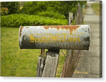 Sign Of The Times Seattle Times Canvas Print by Cathy Anderson