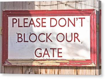 Sign On Gate Canvas Print