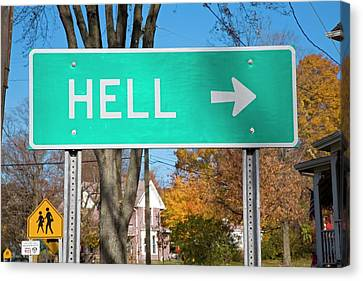 Sign To Hell Canvas Print by Jim West