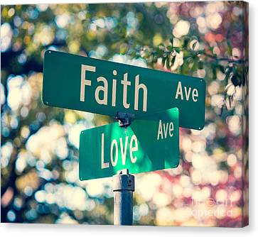Signs Of Faith And Love Canvas Print by Sonja Quintero