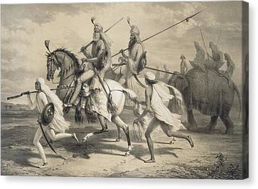Sikh Chieftans Going Hunting Canvas Print by A Soltykoff