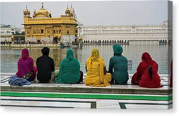 Sikhism Canvas Print - Sikh Family Sitting At The Edge Of Pool by Panoramic Images