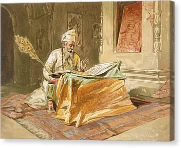 Sikh Priest Reading The Grunth Canvas Print