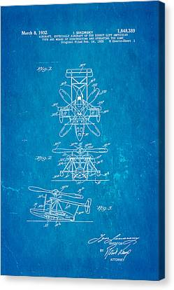 Sikorsky Helicopter Patent Art 1932 Blueprint Canvas Print by Ian Monk