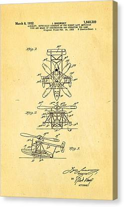 Sikorsky Helicopter Patent Art 1932 Canvas Print
