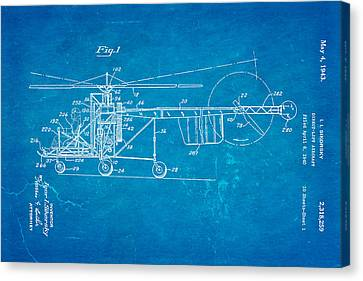 Sikorsky Helicopter Patent Art 1943 Blueprint Canvas Print by Ian Monk