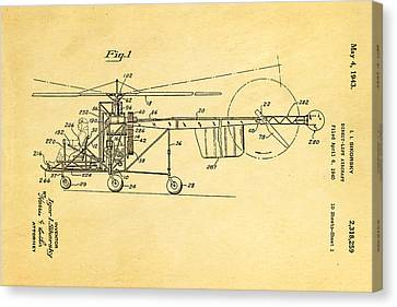 Sikorsky Helicopter Patent Art 1943 Canvas Print