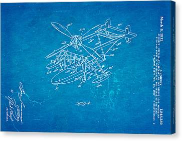 Sikorsky Helicopter Patent Art 2 1932 Blueprint Canvas Print
