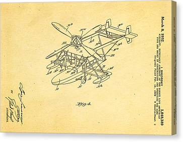 Sikorsky Helicopter Patent Art 2 1932 Canvas Print by Ian Monk