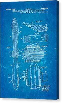 Sikorsky Helicopter Patent Art 4 1932 Blueprint Canvas Print
