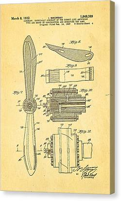 Sikorsky Helicopter Patent Art 4 1932 Canvas Print