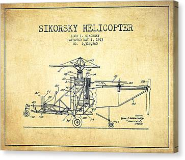 Helicopter Canvas Print - Sikorsky Helicopter Patent Drawing From 1943-vintage by Aged Pixel