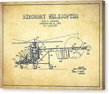 Helicopter Canvas Print - Sikorsky Helicopter Patent Drawing From 1943-vintgae by Aged Pixel