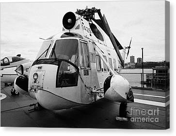 Sikorsky Hh 52 Hh52 Sea Guardian Helicopter On Display On The Flight Deck Canvas Print by Joe Fox