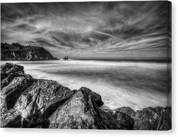 Silence In Black And White - Rockaway Beach Pacifica California  Canvas Print by Jennifer Rondinelli Reilly - Fine Art Photography