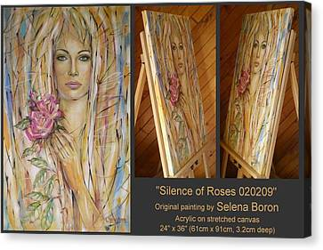 Canvas Print featuring the painting Silence Of Roses 020209 by Selena Boron
