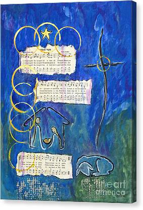 Silent Night A Holy Night - Original Painting By Ella Canvas Print by Ella Kaye Dickey