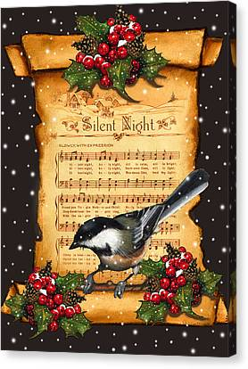 Singing Canvas Print - Silent Night Christmas Greeting Card With Bird by Joyce Geleynse