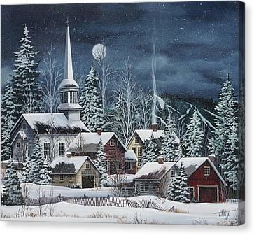 New England Village Canvas Print - Silent Night by Debbi Wetzel