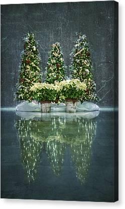 Poinsettias Canvas Print - Silent Night by Evelina Kremsdorf