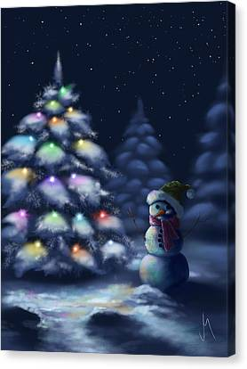 Snowy Night Night Canvas Print - Silent Night by Veronica Minozzi