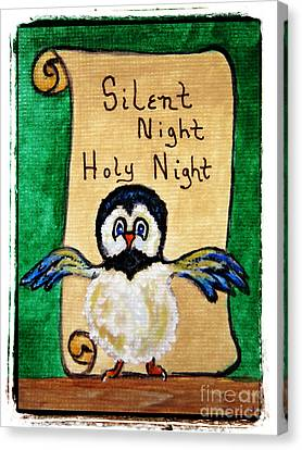 Silent Night - Whimsical Chickadee Choir Director Canvas Print by Ella Kaye Dickey