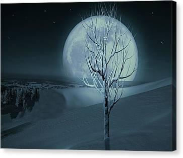 Canvas Print featuring the digital art Silent Winter Evening  by David Dehner