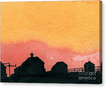 Silhouette Farm 2 Canvas Print