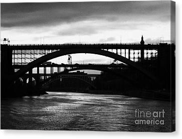 Silhouette In Evening Light Of Washington Heights Bridge Alexander Hamilton Bridge High Bridge Nyc Canvas Print by Joe Fox