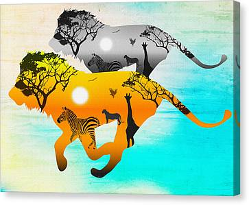 Silhouette Lions On A Hunt.  Canvas Print by Don Kuing